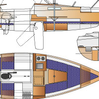 tekening drawing dufour t7 interior layout