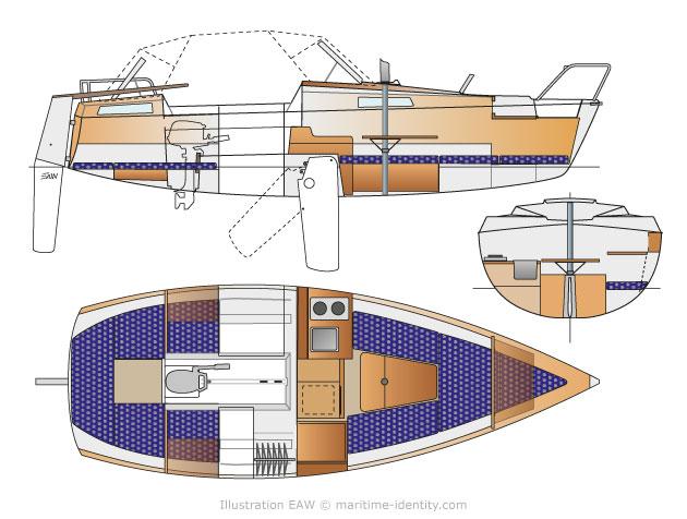 dufour T7 interior plan interieur indeling